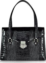 Lapa , L.a.p.a. - Black Croco-style Leather Double Gusset Briefcase
