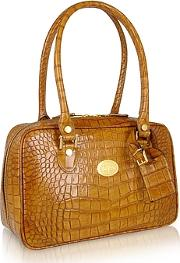 Lapa , L.a.p.a. - Camel Croco Stamped Italian Leather Shoulder Bag