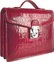 Lapa , L.a.p.a. - Cherry Croco-embossed Double Gusset Compact Briefcase