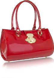 Lapa , L.a.p.a. - Crystal Buckle Patent Leather Barrel Bag