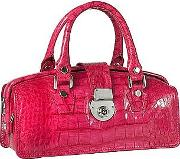 Lapa , L.a.p.a. - Hot Pink Croco-embossed Mini Doctor Style Bag