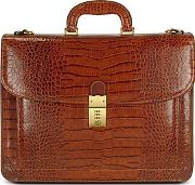 Lapa , L.a.p.a. - Men's Front Pocket Croco Stamped Italian Leather Briefcase