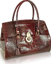 Lapa , L.a.p.a. - Ruby Red Croco Stamped Patent Leather Satchel Bag