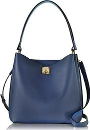 Mcm ,  Milla Blue Leather Medium Hobo Bag