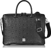 Mcm ,  Ottomar Black Monogram Leather Medium Briefcase