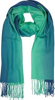 Mila Schon ,  Gradient Bluegreen Wool And Cashmere Fringed Stole