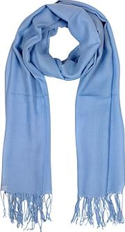 Mila Schon ,  Light Blue Wool And Cashmere Fringed Stole