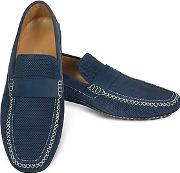 Moreschi ,  Portofino - Navy Blue Perforated Suede Driver Shoes