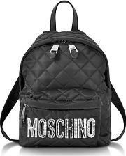 Moschino ,  Black Quilted Nylon Small Backpack Wsilver Laminated Logo