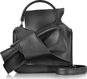 N 21 ,  Black Leather Micro Crossbody Bag Wiconic Bow On Front