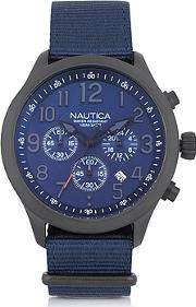 Nautica ,  Black Matte Stainless Steel Dial And Navy Blue Fabric Strap Men's Watch