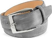 Pakerson ,  Men's Gray Hand Painted Italian Leather Belt