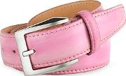 Pakerson ,  Men's Pink Hand Painted Italian Leather Belt
