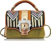 Paula Cademartori ,  Dun Dun Multicolor Leather Satchel