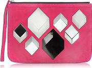 Pierre Hardy ,  Cube Pink Suede Pouch
