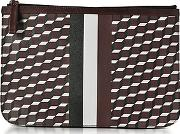 Pierre Hardy ,  Large Burgundy And White Cube And Stripes Canvas And Leather Pouch