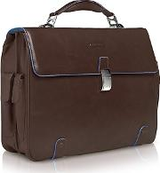 Piquadro ,  Blue Square - Leather 15 Laptop Briefcase