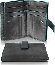 Piquadro ,  Blue Square - Women's Leather Card Holder & Id Wallet