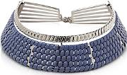 Pluma ,  Brass Wnavy Blue Woven Leather Choker In Fumoso