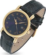Raymond Weil ,  Blue Dial 18k Gold And Croco Leather Dress Watch