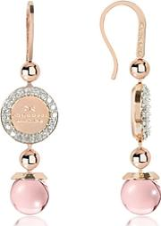 Rebecca ,  Boulevard Stone Rose Gold Over Bronze Dangle Earrings Wpink Hydrothermal Stone
