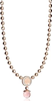 Rebecca ,  Boulevard Stone Rose Gold Over Bronze Necklace Whydrothermal Pink Stones