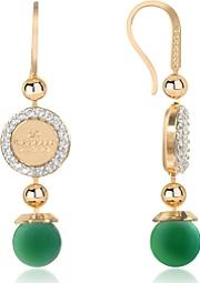 Rebecca ,  Boulevard Stone Yellow Gold Over Bronze Dangle Earrings Wgreen Hydrothermal Stone