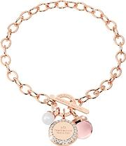Rebecca ,  Hollywood Stone Rose Gold Over Bronze Chain Bracelet Whydrothermal Pink Stone And Glass Pearl