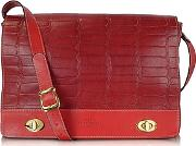 Robe Di Firenze ,  Burgundy And Red Croco Stamped Italian Leather Shoulder Bag