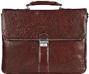 Robe Di Firenze ,  Dark Brown Double Gusset Leather Briefcase