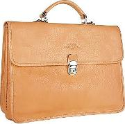 Robe Di Firenze ,  Men's Sand Double-gusset Soft Leather Briefcase