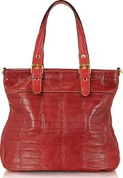 Robe Di Firenze ,  Red Croco Stamped Italian Leather Tote