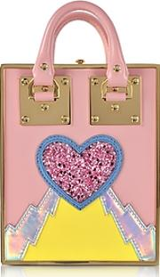 Sophie Hulme ,  Pink Multi Leather And Gold Metal Compton Mini Tote Wchain Strap
