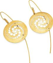 Stefano Patriarchi ,  Golden Silver Etched Crop Circle Round Drop Earrings