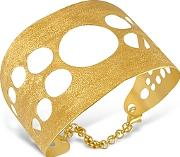 Stefano Patriarchi ,  Golden Silver Etched Cut Out Cuff Bracelet
