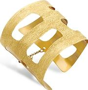 Stefano Patriarchi ,  Golden Silver Etched Cut Out Small Cuff Bracelet