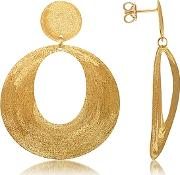 Stefano Patriarchi ,  Golden Silver Etched Oval Cut Out Drop Earrings