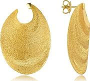 Stefano Patriarchi ,  Golden Silver Etched Oval Shield Drop Earrings