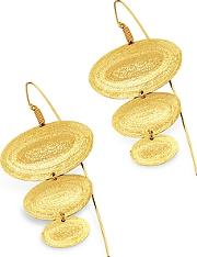 Stefano Patriarchi ,  Golden Silver Etched Oval Triple Drop Earrings