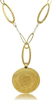 Stefano Patriarchi ,  Golden Silver Etched Round Pendant Chain Necklace