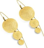 Stefano Patriarchi ,  Golden Silver Etched Round Triple Drop Earrings