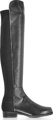 Stuart Weitzman ,  5050 Black Nappa Leather And Micro Stretch Fabric Over The Knee Boots