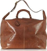 The Bridge ,  Story Viaggio Marrone Leather Weekender Bag
