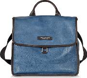 The Bridge ,  Urban Blue Leather Small Backpack