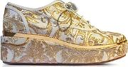 Tory Burch ,  Arden Beige And Gold Embroidered Brocade Platform Oxford Shoes