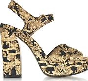 Tory Burch ,  Loretta Black And Gold Embroidered Brocade Platform Sandals