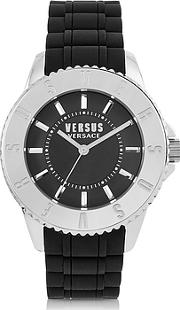 Versace Versus ,  Tokyo Silver Tone Stainless Steel And Black Rubber Men's Watch