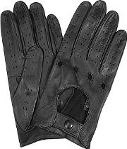 Forzieri ,  Women's Black Perforated Italian Leather Driving Gloves