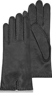 Forzieri ,  Women's Cashmere Lined Black Italian Leather Gloves