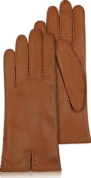 Forzieri ,  Women's Cashmere Lined Brown Italian Leather Gloves
